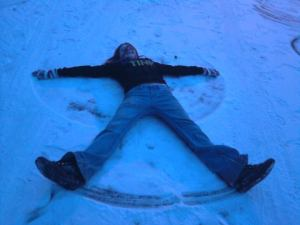 You're never too old for snow angels either.